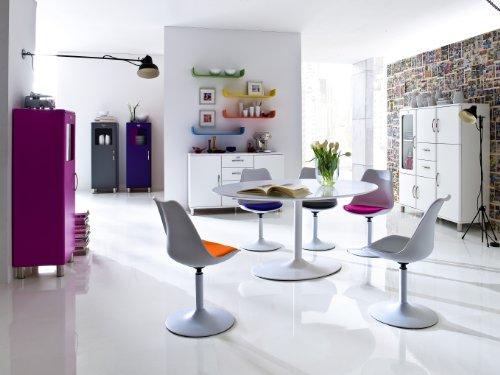 Tenzo 3303-424 TEQUILA - Designer Esszimmerstuhl Viva, Kunststoffschale mit Sitzkissen in Lederoptik, Untergestell Metall, pulverbeschichtet, 83 x 49 x 53 cm, weiß / schwarz