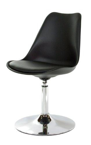 Tenzo 3309-824 TEQUILA - Designer Esszimmerstuhl, Kunststoffschale mit Sitzkissen in Lederoptik, Untergestell verchromt, 83 x 49 x 53 cm, schwarz