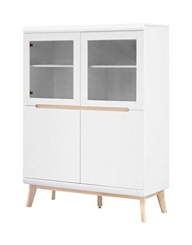 Vitrine JAZZ Highboard mit 2+2 Türen Scandi-Design matt weiß lackiert