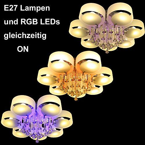 Yorbay®LED Kristall Deckenleuchte Deckenlampe Designer Wohnzimmer Lampe E27( 7-flammig mit RGB Licht)