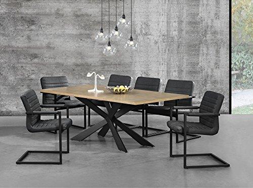 [en.casa] Esstisch Eiche Natur mit 6 Stühlen Freischwinger gepolstert schwarz 200x100cm Esszimmer Essgruppe Küche