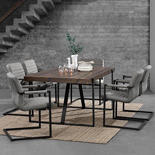 [en.casa] Esstisch Eiche Smoked mit 6 Stühlen Freischwinger gepolstert grau 180x100cm Esszimmer Essgruppe Küche