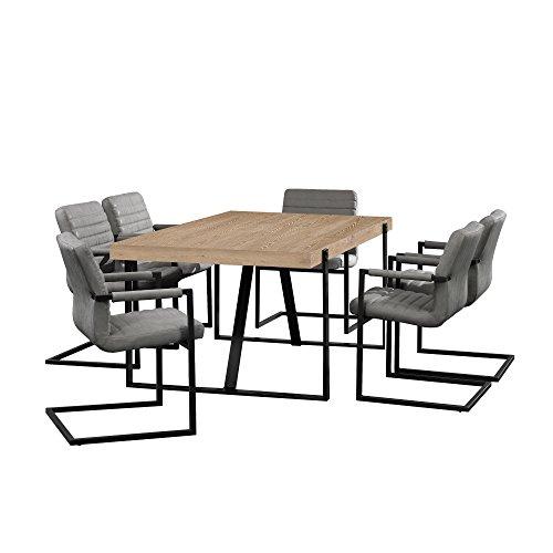 [en.casa] Esstisch Eiche Whitewash mit 6 Stühlen Freischwinger gepolstert grau 180x100cm Esszimmer Essgruppe Küche