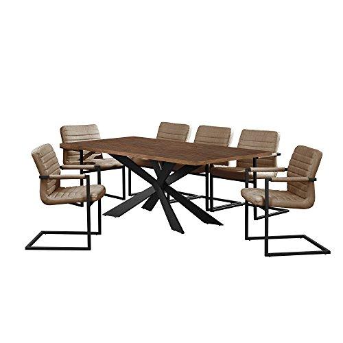 [en.casa] Esstisch Walnuss mit 6 Stühlen Freischwinger gepolstert braun 200x100cm Esszimmer Essgruppe Küche