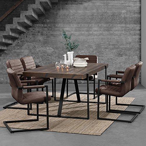 [en.casa] Esszimmertisch für 6 Stühle Eiche dunkel [180x100cm] Esszimmer Essgruppe Wohnzimmer