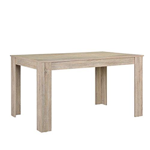 [en.casa] Esszimmertisch für 6 Stühle Eiche hell 140x90cm gekälkt Küche rechteckig Esszimmer Wohnzimmer