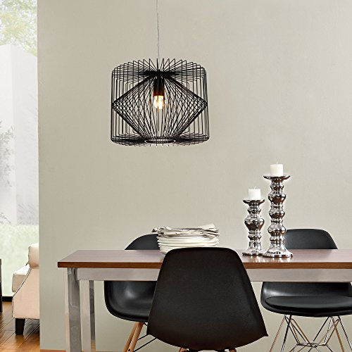 deckenleuchte schwarz metall pendelleuchte gitter esszimmer deckenlampe vintage retro. Black Bedroom Furniture Sets. Home Design Ideas