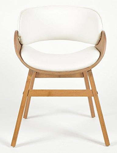 ts-ideen 1x Design Club Sessel Esstisch Küchen Esszimmer Stuhl Sitz in Weiß + Holz