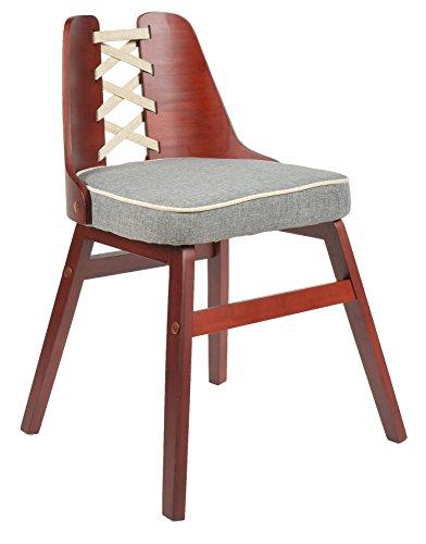ts-ideen 1x Design Club Stuhl Esstisch Küchen Esszimmer Stuhl Sitz in Grau Rot + Holz