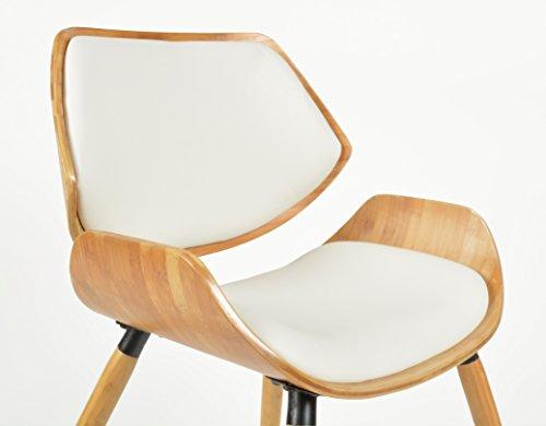 ts-ideen 1x Design Club Stuhl Esstisch Küchen Esszimmer Stuhl Sitz in Weiß + Holz