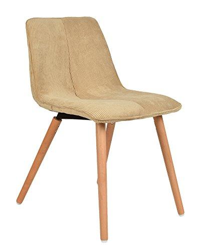 ts-ideen 1x Design Wohnzimmer Esstisch Küchen Stuhl Esszimmer Sitz Cord Beige + Holz