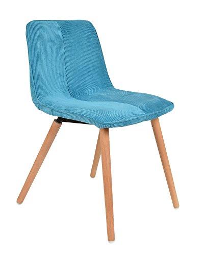 ts-ideen 1x Design Wohnzimmer Esstisch Küchen Stuhl Esszimmer Sitz Cord in Blau + Holz