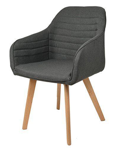 ts-ideen Lounge Design Stuhl Bar Sessel Clubsessel Holz- anthrazit Stoffbezug zum sitzen im Wohnzimmer Büro Esszimmer oder im Flur