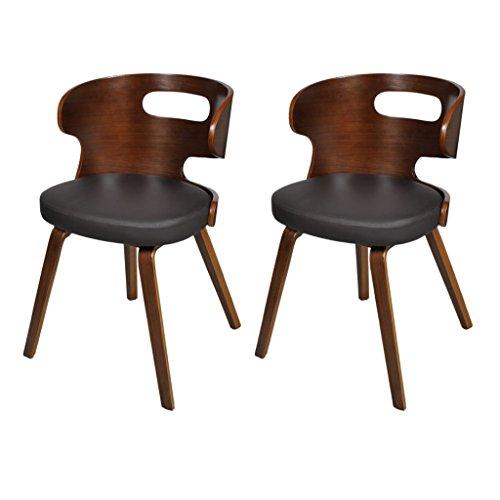vidaXL 2xLederstühle Sessel Esszimmerstühle Sperrholz Ledermix