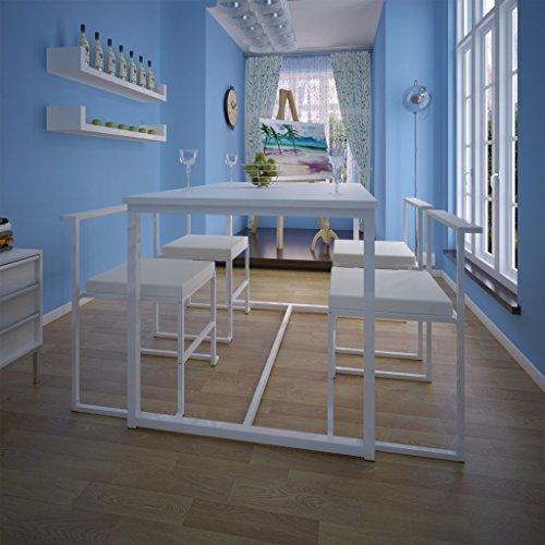 vidaXL Essgruppe Stuhlgruppe 1Tisch+4 Stühle Weiß
