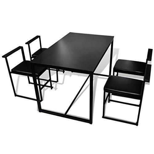 vidaXL Essgruppe Stuhlgruppe 1Tisch+4Stühle schwarz