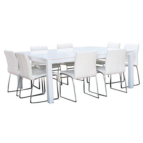 10tlg. Essgruppe PHILLIPPA Sitzgruppe Esstisch Esszimmertisch Tisch weiß