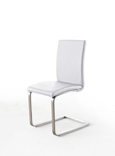 2 Stck. Stühle, Design-Schwingstühle, Esszimmerstühle, weiss (cremeweiss), echt Leder