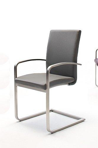 2 Stühle, Esszimmerstühle, Schwingstuhl, Freischwinger, Armlehnen, leder grau