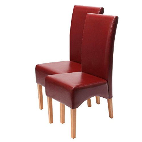 2x Esszimmerstuhl Lehnstuhl Stuhl Latina, LEDER ~ rot, helle Beine