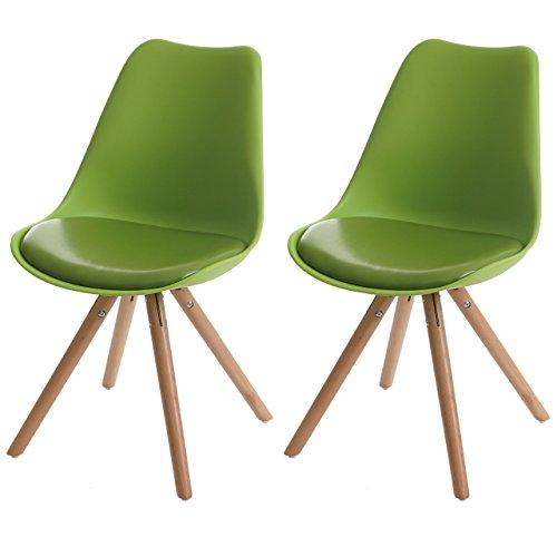 2x Esszimmerstuhl Malmö T501, Retro Design ~ grün, Sitzfläche Kunstleder grün, helle Beine
