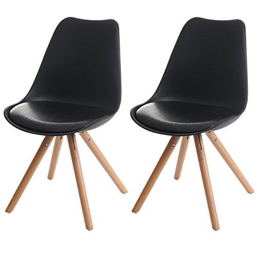 2x Esszimmerstuhl Malmö T501, Retro Design ~ schwarz, Sitzfläche Kunstleder schwarz, helle Beine