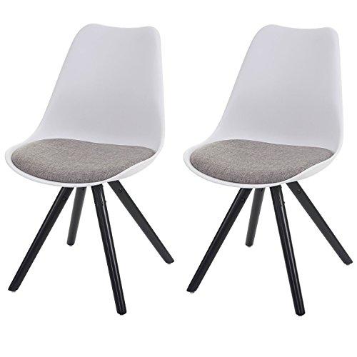 2x Esszimmerstuhl Malmö T501, Retro Design ~ weiß, Sitzfläche Textil grau, dunkle Beine