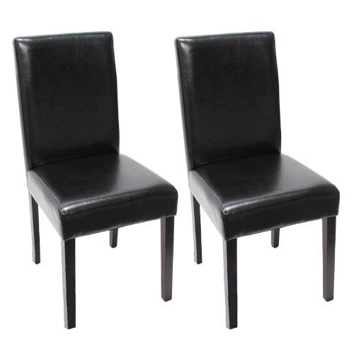 2x Esszimmerstuhl Stuhl Lehnstuhl Littau ~ Leder, schwarz, dunkle Beine