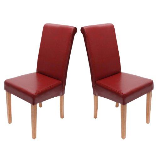2x esszimmerstuhl stuhl lehnstuhl novara ii leder rot. Black Bedroom Furniture Sets. Home Design Ideas