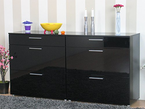 2x kommode infiniti sideboard schubladen flur schrank m bel hochglanz schwarz esszimmerst hle. Black Bedroom Furniture Sets. Home Design Ideas