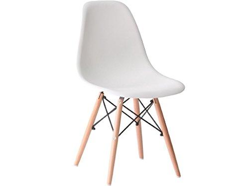 4x Charles Ray Eames Eiffel DSW inspiriert Seite Living Lounge Esszimmer Büro Stuhl Set of 4Stühle Weiß