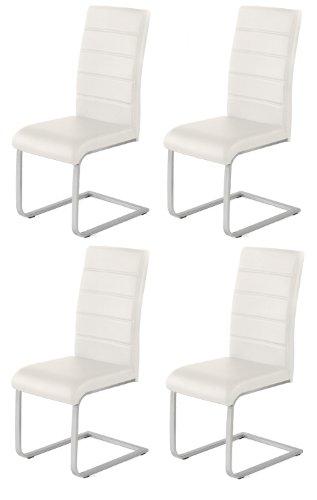 4 x Design Stuhl Freischwinger Piet 32 Kunstleder creme Esszimmerstuhl