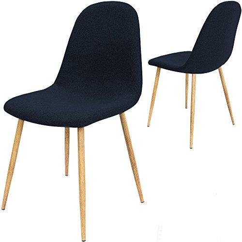 4x Design Stuhl mit Stoffbezug dunkelblau - Esszimmerstühle Stühle Designerstuhl