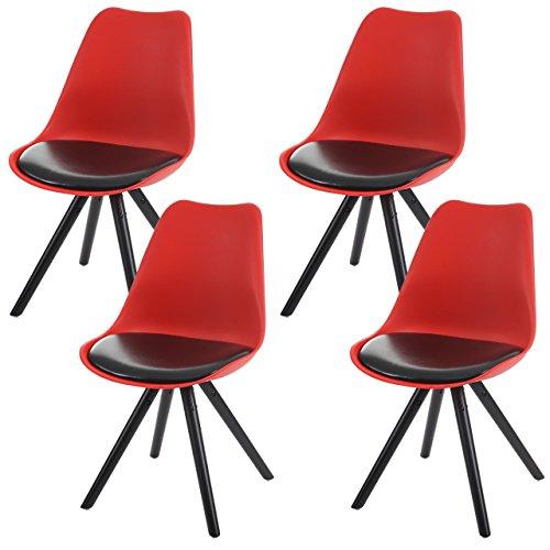 4x Esszimmerstuhl Malmö T501, Retro Design ~ rot, Sitzfläche Kunstleder schwarz, dunkle Beine