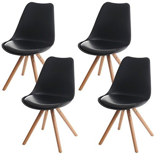 4x Esszimmerstuhl Malmö T501, Retro Design ~ schwarz, Sitzfläche Kunstleder schwarz, helle Beine