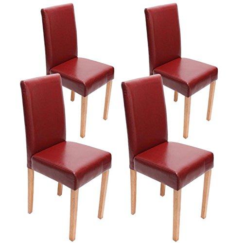4x Esszimmerstuhl Stuhl Lehnstuhl Littau ~ Leder, rot helle Beine