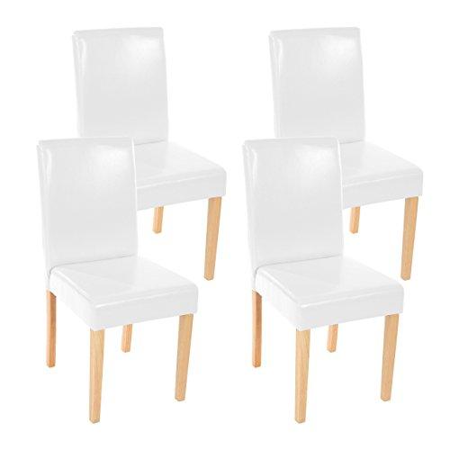 4x Esszimmerstuhl Stuhl Lehnstuhl Littau ~ Leder, weiß helle Beine