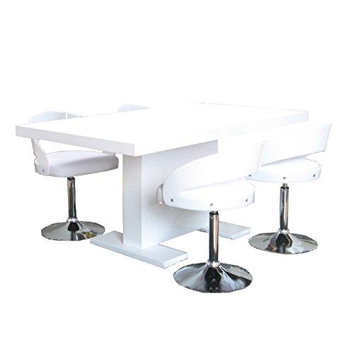 5tlg. Essgruppe CALETTO Sitzgruppe Esstisch Esszimmertisch Tisch weiß hochglanz