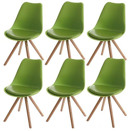 6x Esszimmerstuhl Malmö T501, Retro Design ~ grün, Sitzfläche Kunstleder grün, helle Beine