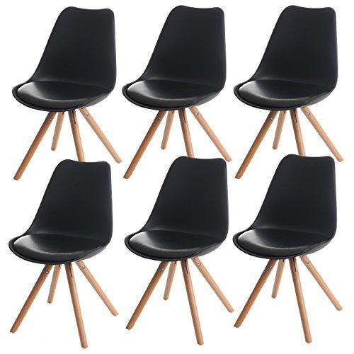 6x Esszimmerstuhl Malmö T501, Retro Design ~ schwarz, Sitzfläche Kunstleder schwarz, helle Beine