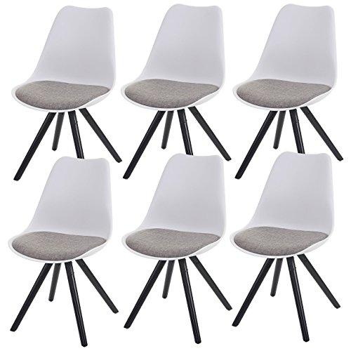 6x Esszimmerstuhl Malmö T501, Retro Design ~ weiß, Sitzfläche Textil grau, dunkle Beine