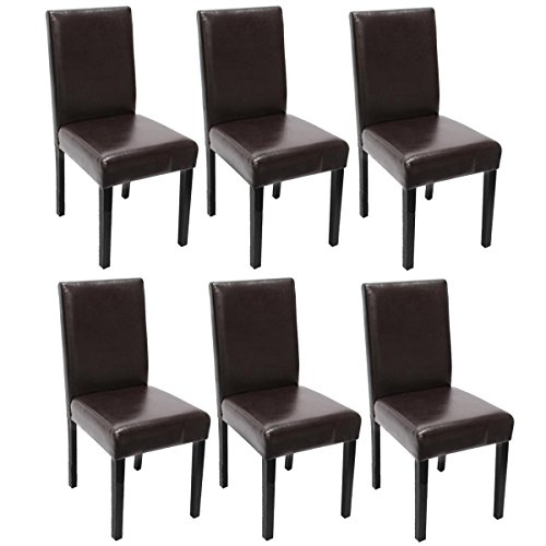 6x Esszimmerstuhl Stuhl Lehnstuhl Littau ~ Leder, braun, dunkle Beine