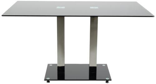 ac design furniture h000012517 esstisch hendrik glasplatte schwarz gestell metall rostfrei. Black Bedroom Furniture Sets. Home Design Ideas