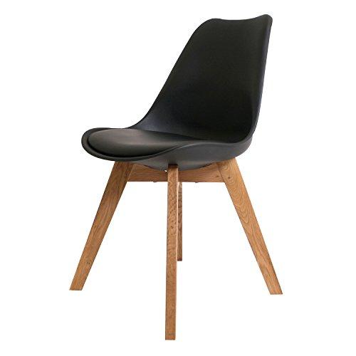BUTIK FL20361-6 Angebot 6-er Set Moderner Design Esszimmerstuhl Consilium Valido, Eichenholz, 83 x 48 x 39 cm, schwarz