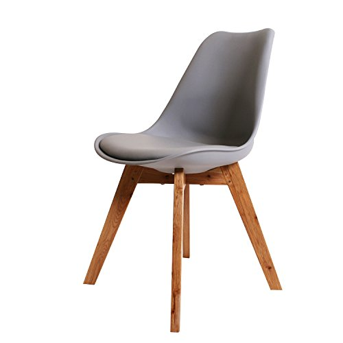 BUTIK FL20362-4 Angebot 4-er Set Moderner Design Esszimmerstuhl Consilium Valido, Eichenholz, 83 x 48 x 39 cm, grau