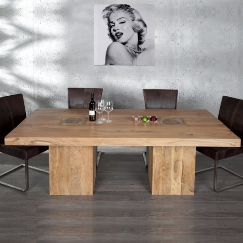 cag exklusiver imposanter esstisch bombay aus akazie massiv holz 210cm x 100cm. Black Bedroom Furniture Sets. Home Design Ideas