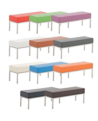 CLP 3er Edelstahl-Sitzbank LAMEGA, 120x40 cm, Gestell Edelstahl gebürstet, 15 cm dickes Polster (bis zu 11 Farben wählbar) schwarz