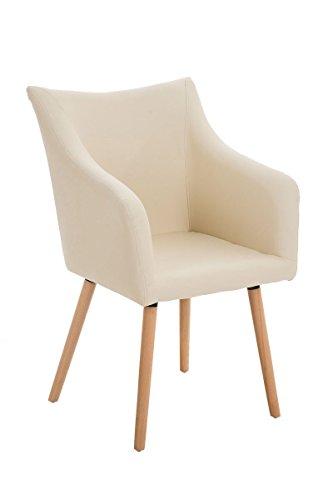CLP Design-Stuhl MCCOY mit gut gepolsterter Sitzfläche aus Kunstleder und Holzgestell - aus bis zu 5 Farben wählen creme
