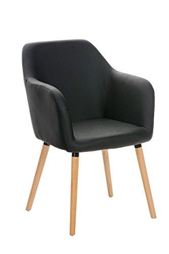 CLP moderner Besucher Design-Stuhl PICARD, Holzgestell, gut gepolsterter Sitzfläche, bis zu 5 Bezug-Farben wählbar schwarz