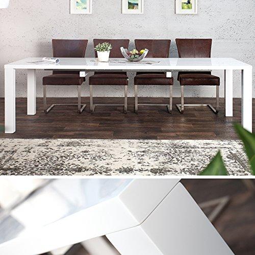 Design Esstisch LUCENTE weiß Hochglanz 160 - 240cm ausziehbar Tisch
